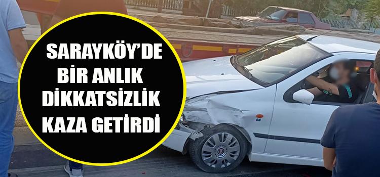 ÖNCE OTOMOBİLE ARDINDAN TIRA ÇARPARAK DURDU