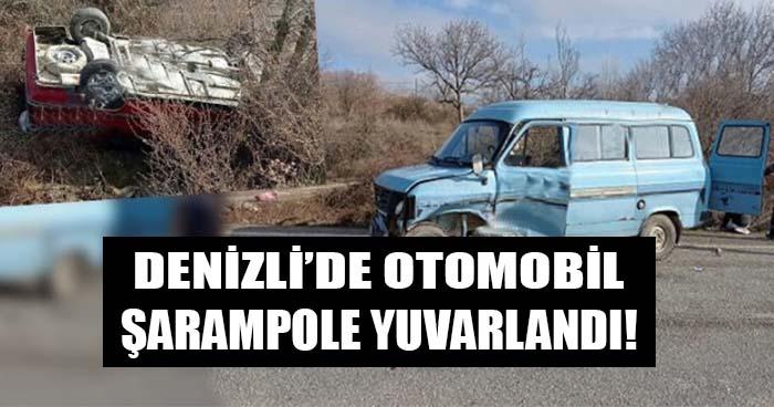 Denizli'de Otomobil Şarampole Yuvarlandı!