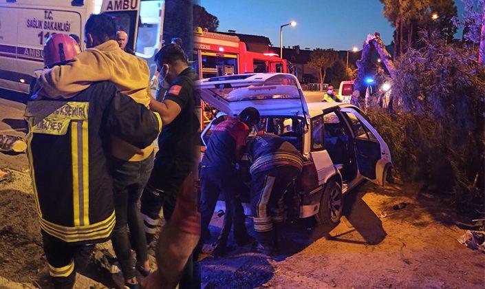 Kontrolden çıkan araç ağaca çarptı! 4 yaralı!
